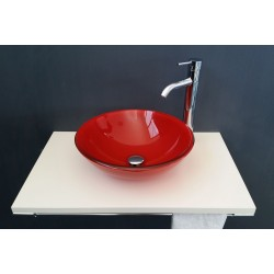 BASIN IN RED GLASS ROUND SHAPE