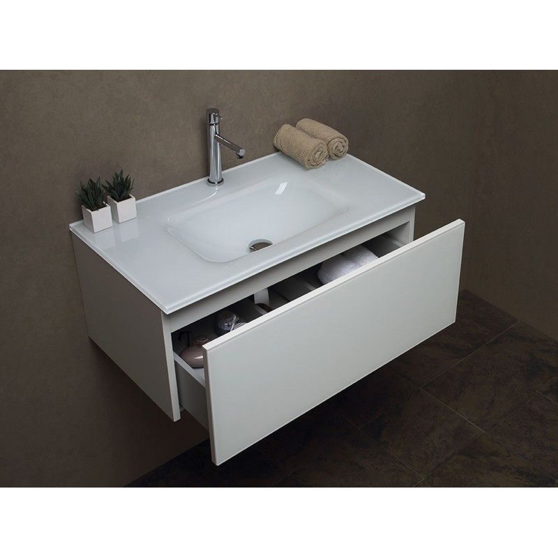 copy of Mobile bagno sospeso Cm 60 con Lavabo in vetro extrachiaro